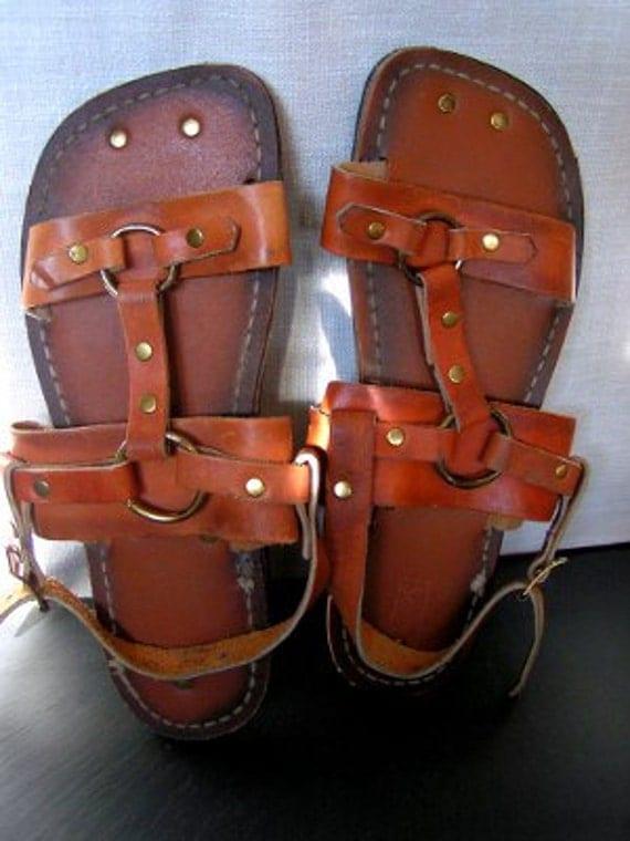 Nos Vintage 1960's 70's Men's Roman Tire Tread MOD ... |Hippie Mens Leather Sandals