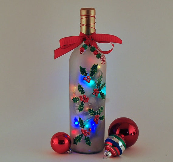 Wine Bottle Lamp Holly Christmas Decor Red And Green