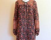 1970's gauze india dress / Gypsy Rose boho dress