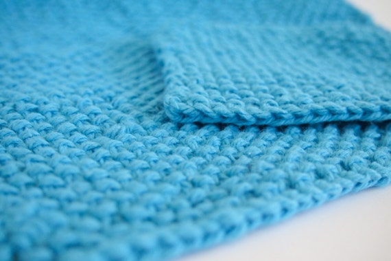 hand knit bright aqua blue cotton washcloth and bath scrubber set