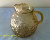 VINTAGE Anchor Hocking Milano Crinkle Amber Glass BALL PITCHER With Ice Lip