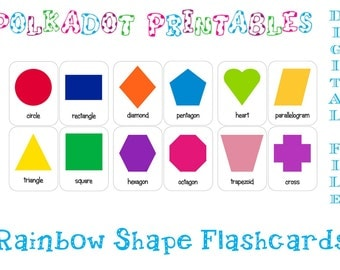 Printable Shape Flashcards Set of 12 - Instant Download