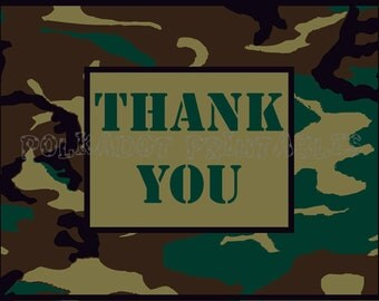 Camo Thank You Card  - Printable Digital File - PDF - Instant Download