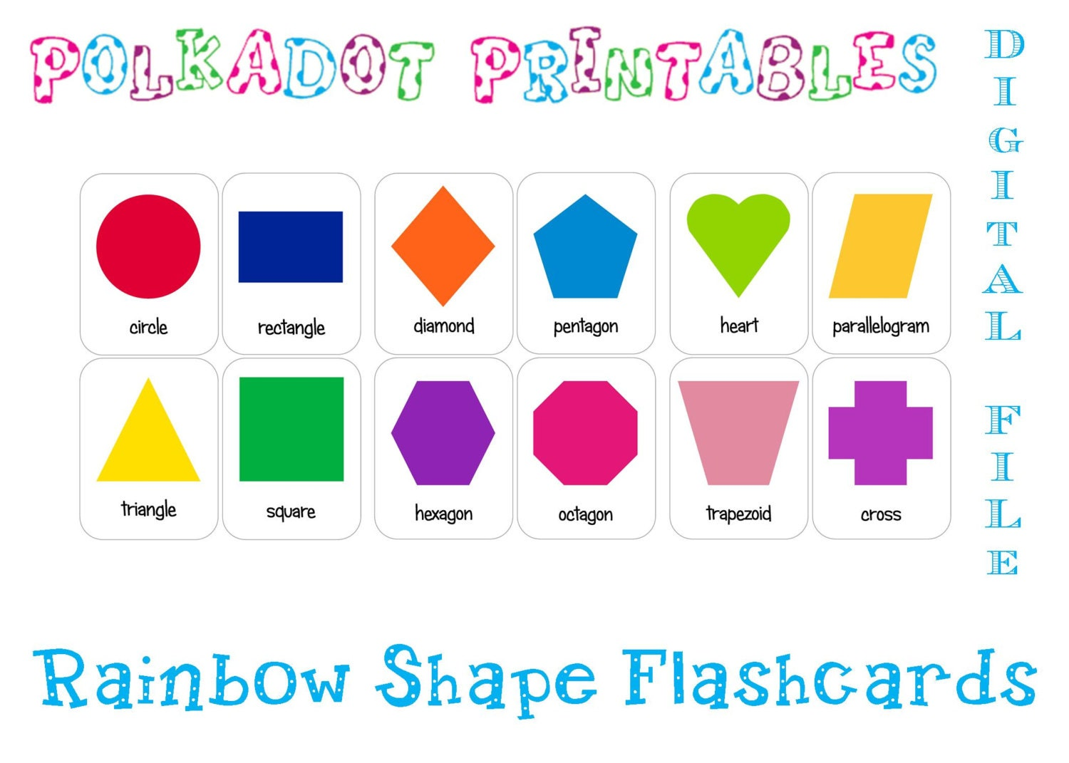 worksheet Shape Flash Cards printable shape flashcards set of 12 instant download