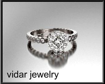 Flower Engagement Ring,Diamond Engagement Ring,Halo Engagement Ring,Unique Engagement Ring,14K Gold Engagement Ring,Womens Engagement Ring