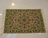 Wool Chain Stitch hand embroidered made crafted knotted wall hanging colourful