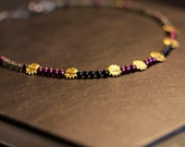 Plum Pearl and Black Beaded Sun Necklace