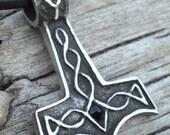 Pewter Thor's Hammer Mjolnir Norse Viking Pendant with Swarovski Black Onyx Crystal (39K)
