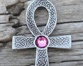 Pewter Ankh Egyptian Cross with Celtic Knots Pendant with Swarovski Crystal Pink Tourmaline OCTOBER Birthstone (31G)