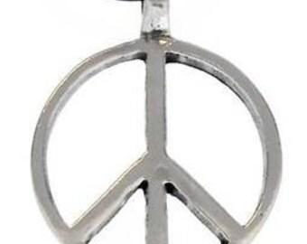 Pewter Peace Sign Love Hippie Yoga Namaste Meditation Pendant (57G)