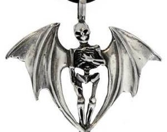 Pewter Skeleton with Bat Wings Gothic Halloween Pendant (24A)
