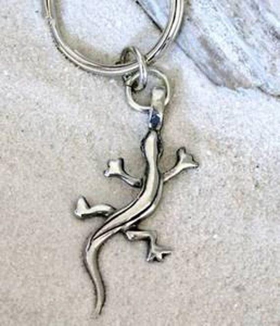 Pewter Lizard Gecko Salamander Silver Keychain Key Ring (29B-KC)