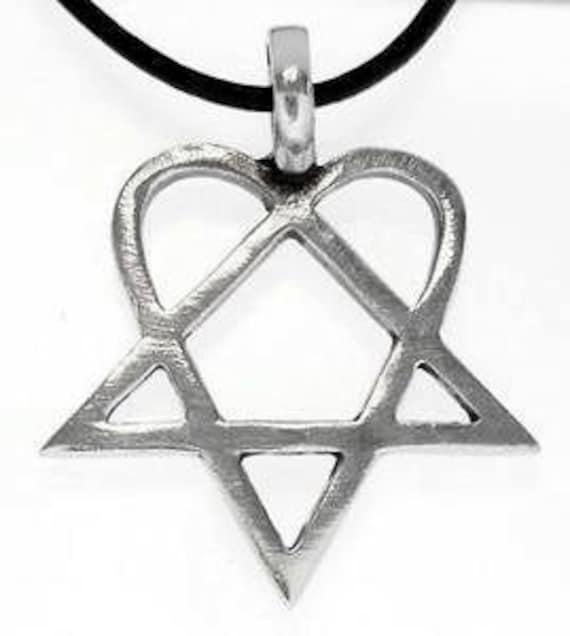 Heartagram Pendant HIM Pewter Necklace (317)