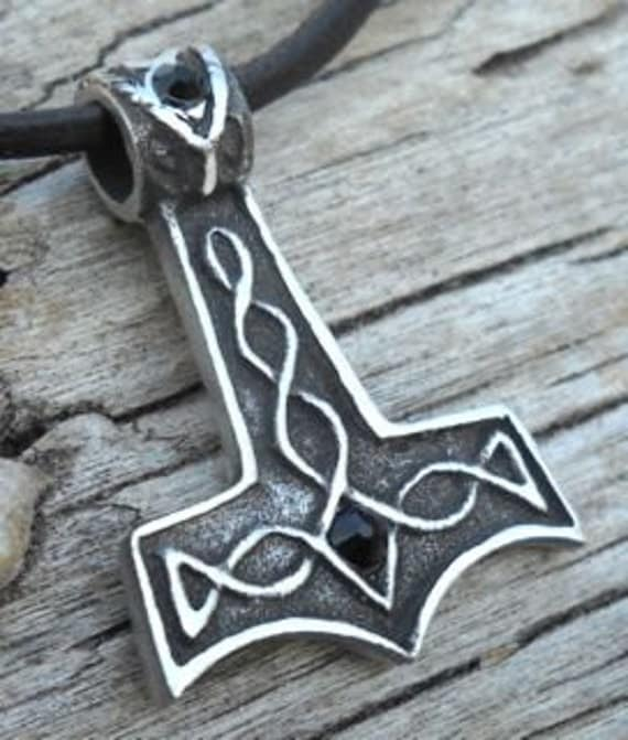pewter thor 39 s hammer mjolnir norse viking pendant with