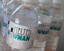 Melted Snowman Water Bottle Label Printable from Pom Pom Winter ONEderland Collection