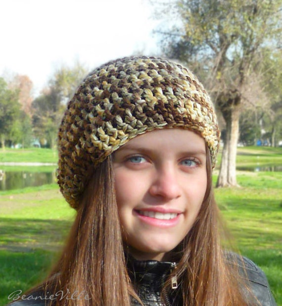 SPECIAL - Slouchy beanie hat - LOW DESERT - chunky - crochet - womens Winter Autumn accessories Wool Woolen brown beige