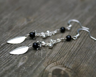 Silver Leaf and Black Bead Earrings