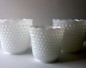 So Lovely... Vintage 3 Piece Planters Or Vases... Fire King By Anchor Hocking Milk Glass Hobnail Pattern