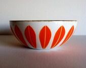 Fabulous Vintage Mid Century Modern Small Cathrineholm White and Orange Lotus Bowl
