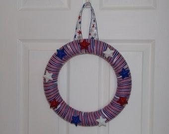 "12"" Americana Stars & Stripes Yarn Wreath"