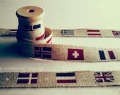 2 metres Ribbon Europe Flag Cotton Linen Zakka Japanese Fabric Labels Printed Tag Sewing