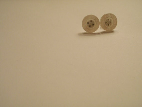 White Aeropostale Button Earrings