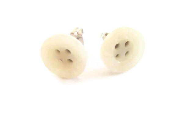 White American Eagle Button Earrings