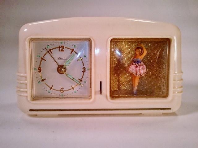 Vintage German Heco Musical Wind up Clock with Ballerina Alarm