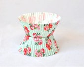 Cupcake Muffin Liners - Red Flowers with Pale Green Polka Dots x 20