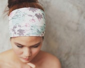 My rose garden, Turban Headband - pastel mint and pink victorian floral print