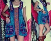 Handmade Hippie Dress, Bohemian Dress, Tribal Dress, Organic Dress, Jumper Dress, free size in aztec light greenish blue ON SALE