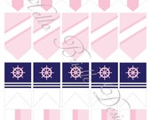 Classy Nautical Party Printable Mini Flags in Pink - Instant Digital Download