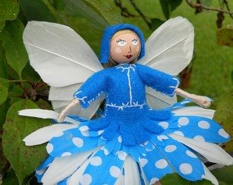Bright Blue and White - Polka Dot - Flower Fairy