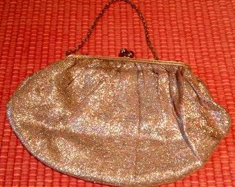 Vintage 1950s 1960s Metallic Evening Purse Bag
