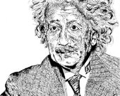 Poster Print of Ink Drawing: Portrait of Albert Einstein, 12x18