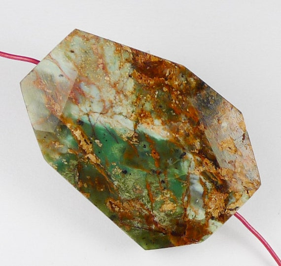 African Green Opal Faceted Free Form Pendant Bead - 37x25x8mm