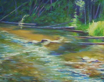 Large original painting, Sunlight Through the Trees, water, stream, landscape painting