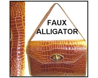 Vintage 1960s Purse Handbag Alligator Garden Party Rockabilly Mad Man Retro Dress Femme Fatale