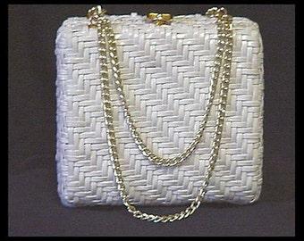 Vintage 1960s Purse plastic coated rattan purse Handbag Designer Garden Party Rockabilly Mad Man Retro Dress Femme Fatale Couture