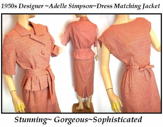 Vintage 1950s Dress Adelle Simpson Matching Jacket Outfit Rockabilly Garden Party Cocktail Femme Fatale Designer