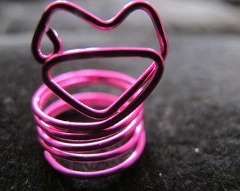 Ring wire wrapped hot pink fuchsia kiss lips ring for girls and children, children's ring