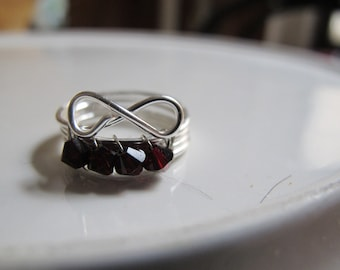 Children's wire wrapped infinity JANUARY birthstone ring with garnet Swarovski crystals, children's jewelry