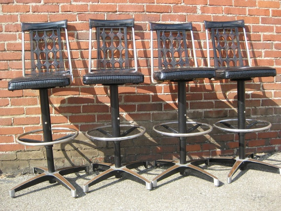 Early 1970's Smoked Lucitte Bar Stools Set of 4