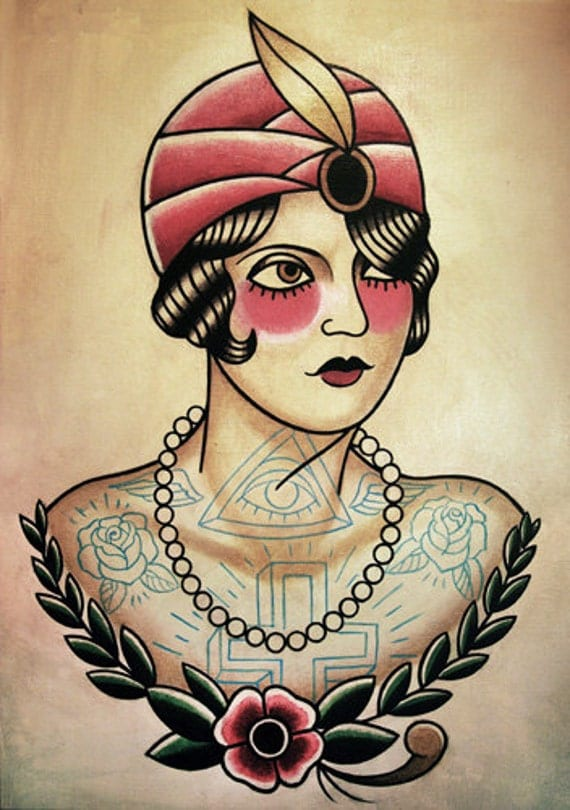 Fortune Teller Flapper Traditional Tattoo Flash