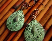 Ethnic Copper and Brass Teardrop Earrings-Tribal-Verdigris-Free Shipping