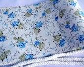 White Ribbon Pre-tied Soft Blue & Green Lime Flower Obi