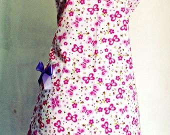 Soft Purple Pink Flowery Butterfly Sweet Feminine Apron