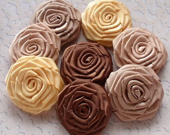 8 Handmade Ribbon Roses (1-1/2 inches) In  Latte, brown, tan, old yellow MY-027-13 Ready to Ship
