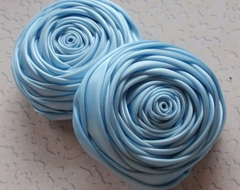 2 Handmade Rolled Roses (2.5 inches) in Blue Topza  MY-015 - 50 Ready To Ship