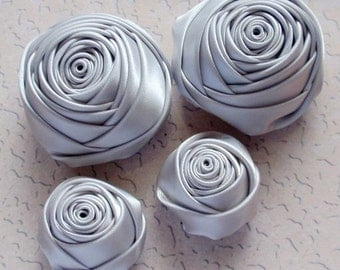 4 Handmade Rolled Ribbon Rose Ribbon Flower (2 inches,1-1/4 inch) in Shell Gray  MY-060--02 Ready To Ship